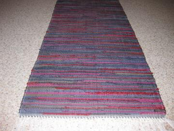 Handwoven Cranberry, Navy, Hunter Green, Brown Rag Rug 25 x 76