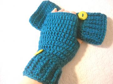 Crocheted Fingerless Mitts in Teal with Lime Green Button