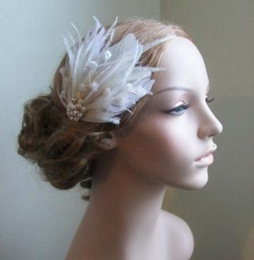 "on sale! was 55 dollars ""Edith"" feathered bridal headpiece fascinator"