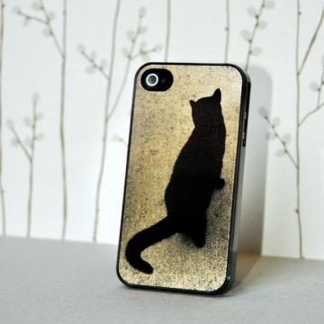Black Cat Photo on Satin Gold Aluminum - iPhone 4 Hard Case