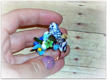 Cat Among the Pansies - Ring - Beloved Collection - Little Friends Series - OOAK - ANY SIZE