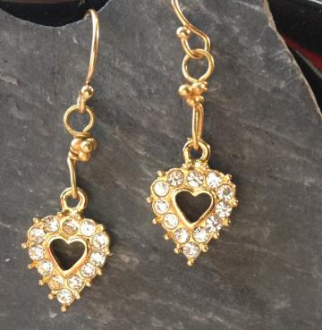 Vintage Rhinestone Heart Adorable Earrings