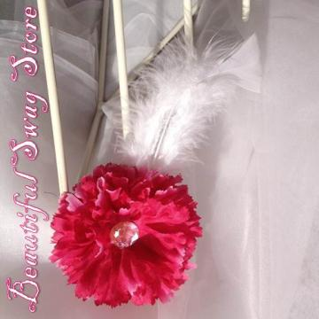 Fuschia Flower Feather Hat Pin