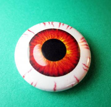 Bloodshot Eyeball Pinback Button 1 inch pin Monster Colours Banshee Blood