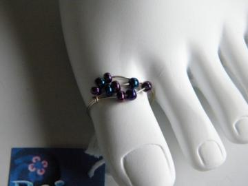 Metallic Iridescence of Purple and Blue Toe Ring -Jewelry by Bridget