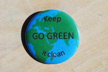 Go Green Large Pinback Button/Badge 2 1/4 inches