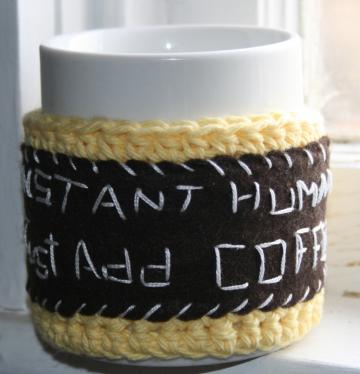 Instant Human Just Add Coffee Mug Cozy crochet in yellow cotton