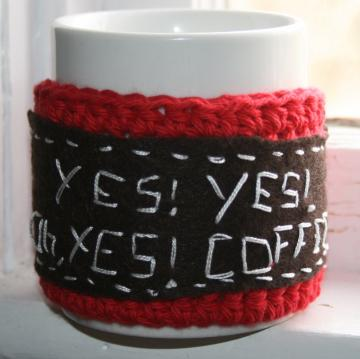 Oh yes, Coffee Mug Cozy crochet in red cotton