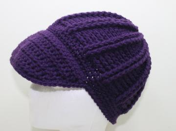Crochet Cap in Dark Purple Newsboy Style
