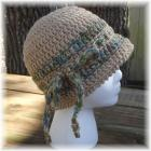 Buff Crocheted Hat with Multicolored Tie Trim