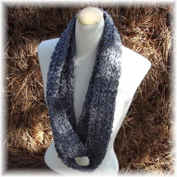 Gray Crocheted Infinity Scarf