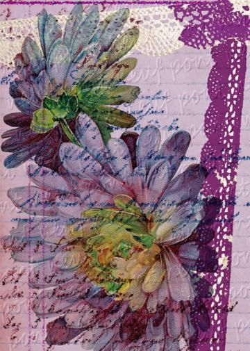 Floral Impressions No 2 Purple Mums Digital Collage Sheet Download and Print Paper Crafts Card Original Altered Art by Pont Neuf