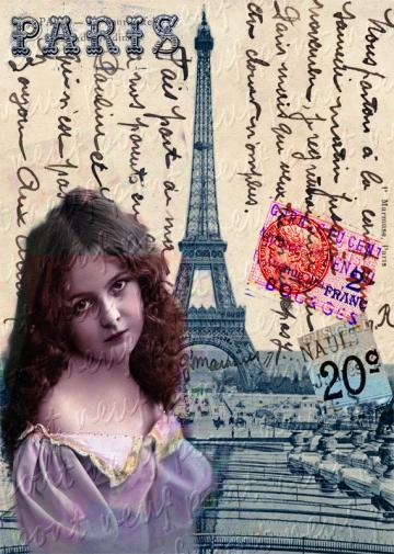 Simply Paris Giselle No 8 Digital Collage Sheet Download and Print Paper Crafts Card Original Altered Art by Pont Neuf