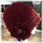 Rust Crocheted Hat and Flower