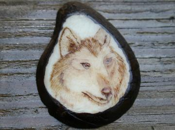Wolf Portrait Tagua Nut Pendant Necklace