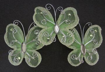 "12 - 2"" Apple Green Organza Butterfly"