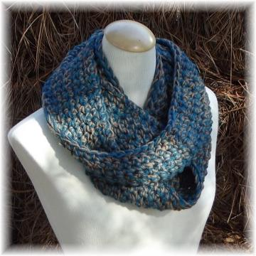 Teal and Tan Crocheted Infinity Scarf