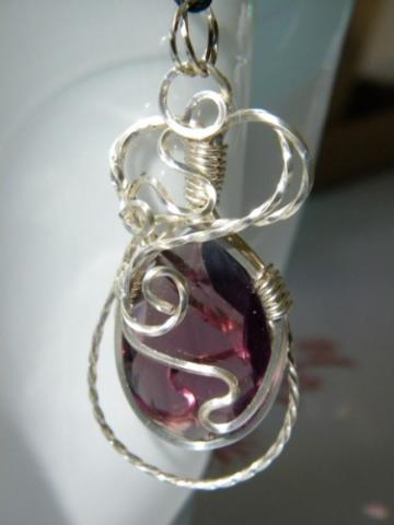 RESERVED! Vintage Large Amethyst Faceted Crystal Pendant Fancy Silver Wrap