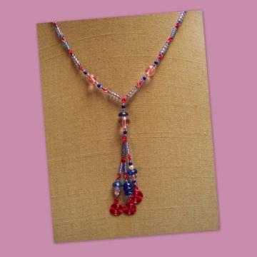 Blue and Pink Spiral Tassle Necklace