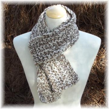 Tan and Cream Crocheted Scarf