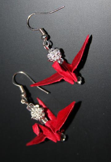 Red Origami Peace Crane Earrings