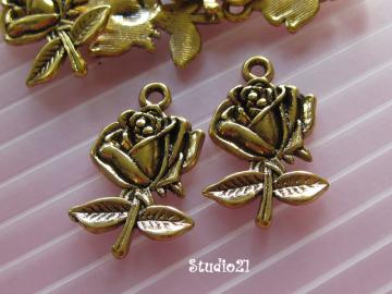 10 pcs of Tibetan Antique Gold Finish Rose Flower Charm/Pendant (PEN-G15)