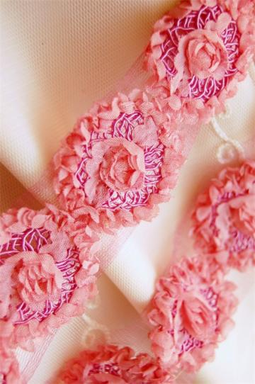 Shabby Chic CERISE PINK Rosette Trim with Inset Soutache Swirls