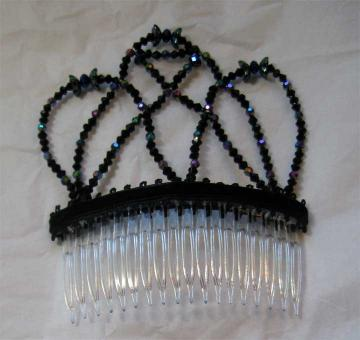 Comb: Swarovski crystals, black iridescent glass beads