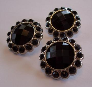 3 BLACK Rhinestone Buttons for Hair Flower Centers Clip Wedding Embellishments Accessories(B1011)