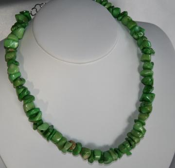 Chunky Coral Lime Green Bamboo Beaded Necklace