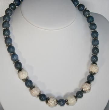 Big Chunky White Turquoise &amp; Blue Sponge Coral Necklace