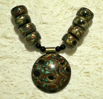Bead Set - large focal dome pendant with matching beads gold copper turquoise black