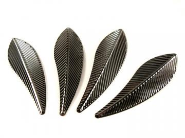 Black Leaf Pendant 8 large feather metal charms 70mm x 20mm  (PE300)