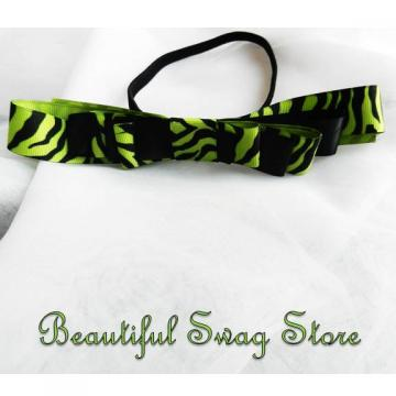 Zebra Green Bow Headband  Women's Boutique Headband-Running Apparel