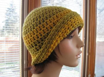 Unisex Warm Mustard and Pea Green Crochet Cap