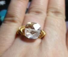 Cubic zirconia ring - diamond wire wrapped imitation