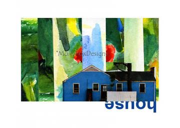 Art -- LOCATION,  LOCATION Post WW II Blue House in Fantasmagorical Setting Watercolor Collage Giclee Print Free US Shipping