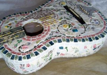 Original Art Shabby Mosaic Pique Assiette Guitar One-of-a kind