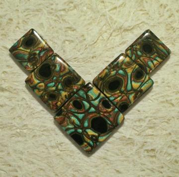 *Reserved for Renee*  Handmade square tile bead set focal pendant polymer clay mokume gane