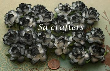 1-1/4 inches paper flowers 2 Tone White Black colors-20 Flowers