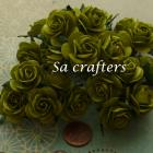 1inch Roses paper flowers in green color-50 Flowers