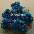 1inch Roses paper flowers in deep blue color-50 Flowers