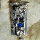 Dolphin Playground Sculpture Pendant -Blue Soladite and Garnet in Sterling Silver -OOAK