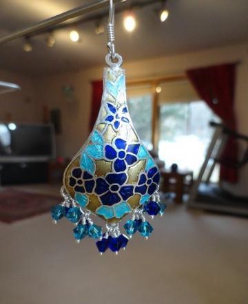 Jaipur  Meenakari  Chandeliers with Blue Swarovski Crystals