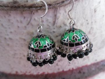 Jaipur Jhumkas - Meenakari Chandelier with Black beads