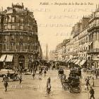 DIGITAL Scan Antique 1906 PARIS French postcard street scene sepia toned Real photo Download