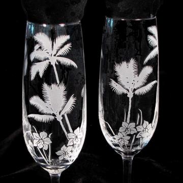 Tropical Beach Champagne Glasses, Engraved Fine Crystal Champagne Flutes