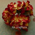 2 Tone yellow&red Gardenia 2-1/4x2-1/4inches-25 flowers