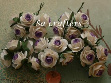 1inch Roses paper flowers in 2 tone white&Purple color-50 Flowers