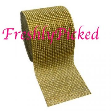 "GOLD Diamond Mesh "" Crystal Wrap "" Rhinestone Net 4.5"" 1 yard"